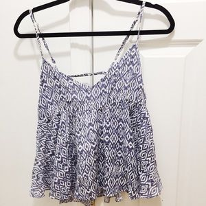 Millau Swingy Tank Top Blue White Open Back Sz XS